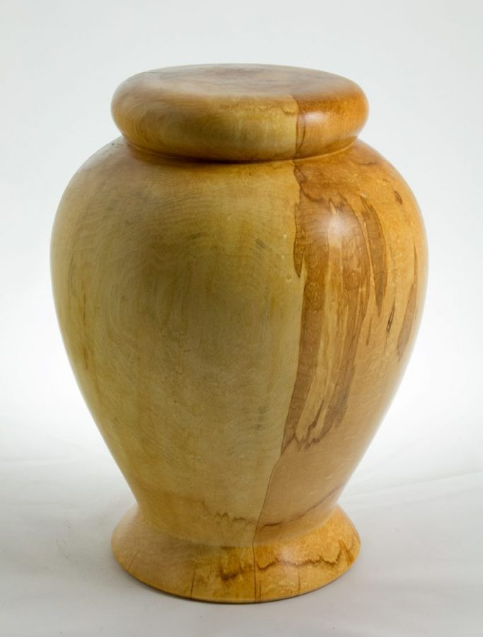 Funeral urn, #39-Spalted maple 7.75 x 10in.