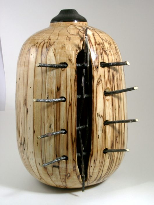 Spalted White Birch in a cage