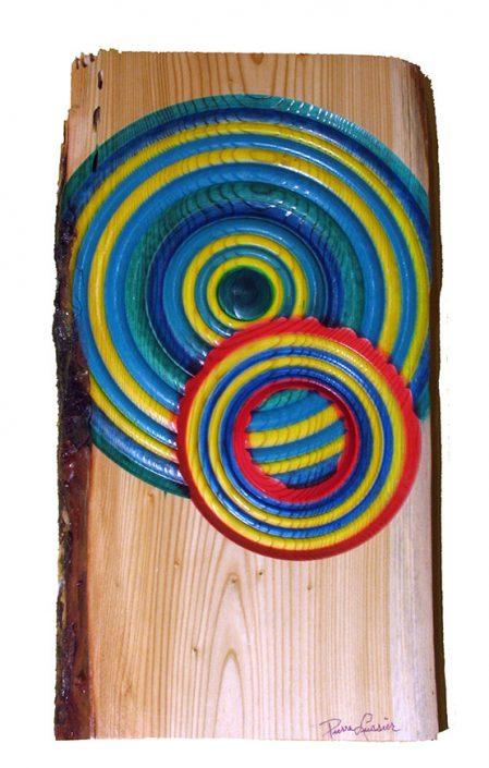 Cercle mélèze - Art mural en bois tourné. #392